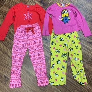 Lot of 2 medium girls pajamas including minions